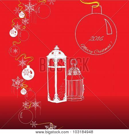 Christamas elements of balls, lanterns, snowflakes