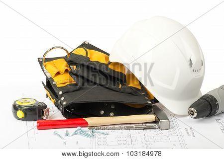 Helmet with tool belt