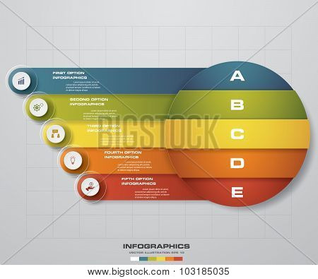 Abstract 5 steps business presentation template. Design clean number banners template.
