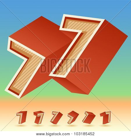 3D vector retro alphabet for summer typography design. All symbols in set have 8 random points of view. Number 7