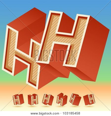 3D vector retro alphabet for summer typography design. All symbols in set have 8 random points of view. Letter H