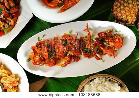 Crab  dish on Fresh Banana Leaf