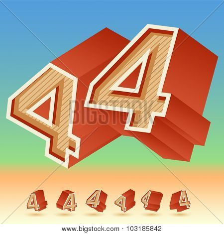 3D vector retro alphabet for summer typography design. All symbols in set have 8 random points of view. Number 4