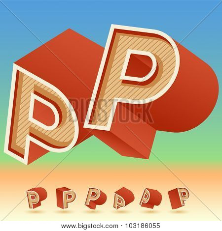 3D vector retro alphabet for summer typography design. All symbols in set have 8 random points of view. Letter P