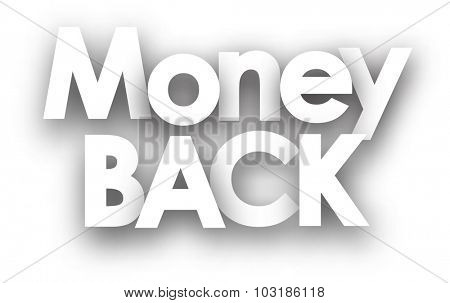 Money back sign in black and white. Vector illustration.