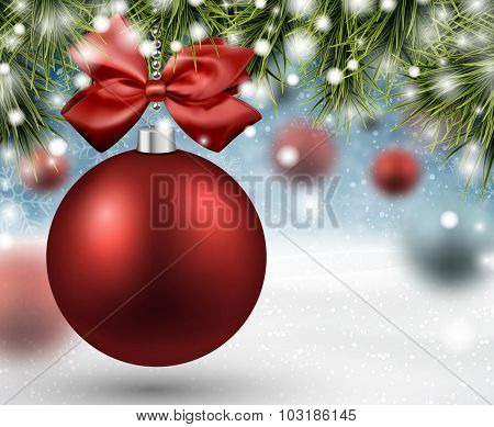 Red bauble. Winter background with spruce twigs and place for text. Vector illustration.