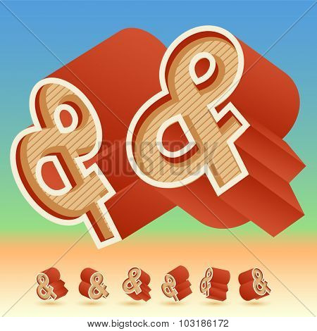 3D vector retro alphabet for summer typography design. All symbols in set have 8 random points of view. Symbol