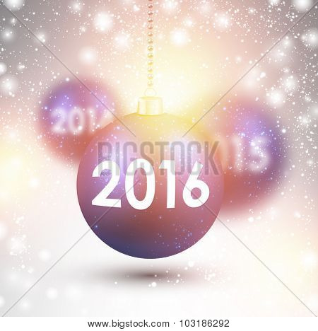 2016 New Year card with pink balls. Vector Illustration.
