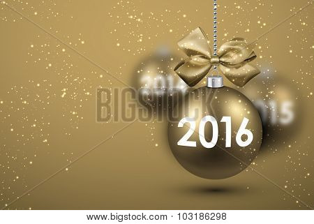2016 New Year card with gold balls. Vector Illustration.