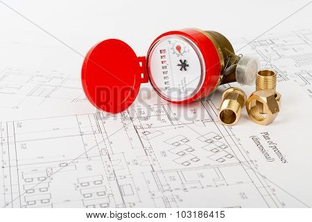 Water meter with fitting pieces