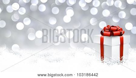 3d realistic gift box with red bow over glittering bokeh background. Vector illustration.