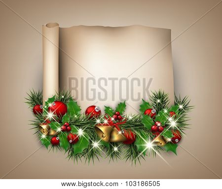 Christmas congratulatory background with fir branch. Vector paper illustration.