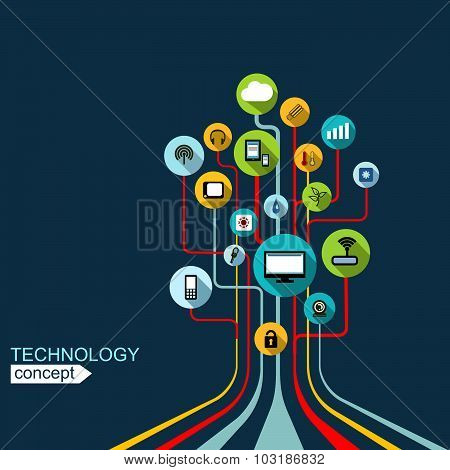 Technology concept.  Background with lines, circles , icons Growth tree  concept with mobile phone,