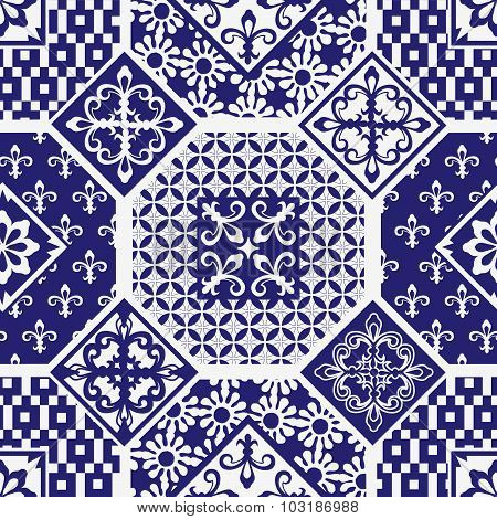 Gorgeous seamless patchwork pattern from dark blue and white ornaments. Can be used for wallpaper, p