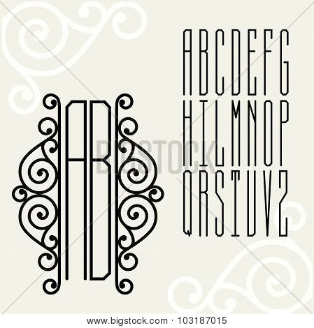 Beautiful Monogram Art Nouveau and a set of templates of letters inscribed in a rectangle.