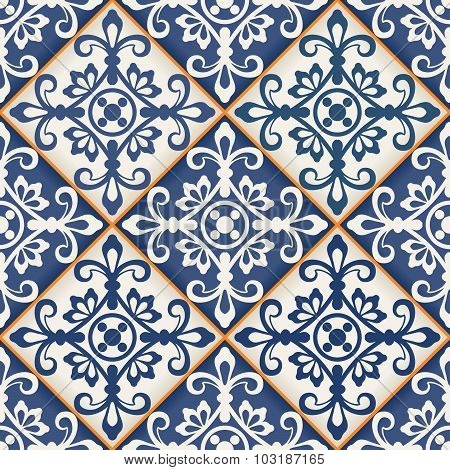Gorgeous seamless patchwork pattern from dark blue and white Moroccan tiles, ornaments. Can be used