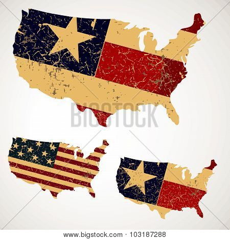 Vintage Map of USA made of a flag of the United States, typography, t-shirt graphics