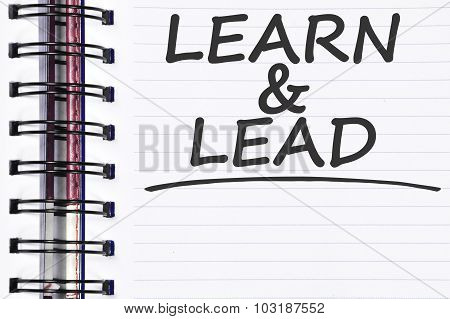 Learn And Lead Words On Spring Note Book