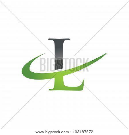 Initial letter L company swoosh logo green