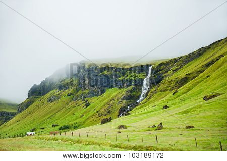 Beautiful Landscape With Mountains And Waterfall