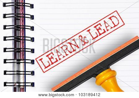 Learn And Lead Rubber Stamp On The Note Book