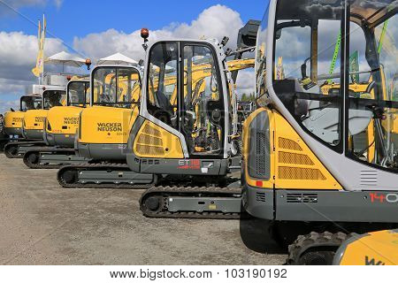 Wacker Neuson Compact Excavators Lined Up