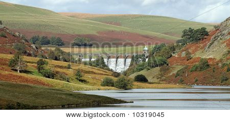 Elan Valley Craig Goch Dam Water Overflowing, Wales Uk.