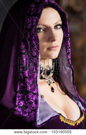 Sexy woman in lilac hood