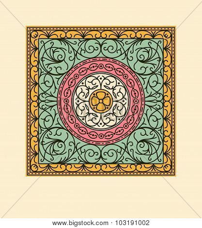 Elegant drapery tile design, decorative vector floral elements