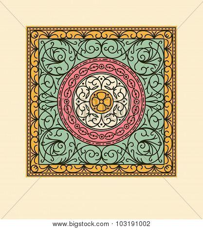 Elegant drapery tile design, decorative vector floral elements
