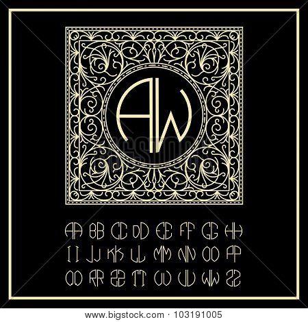 Stylish  graceful monogram , Elegant line art logo design in Victorian Style and Set  template lette