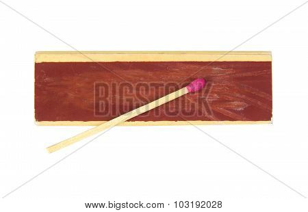 Top view of a matchbox and single matchstick isolated on white background