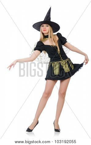 Beautiful witch in black dress isolated on white