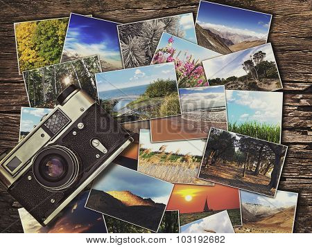 Old Vintage Camera And Photos On A Wooden Background