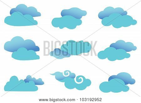 Cute Fancy Clouds Vector Design Element Set