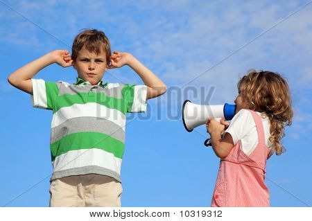Children Play On Nature, Girl Shouts In Loudspeaker