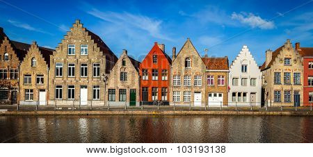 Typical European Europe cityscape view -  panorama of canal and medieval houses. Bruges (Brugge), Belgium