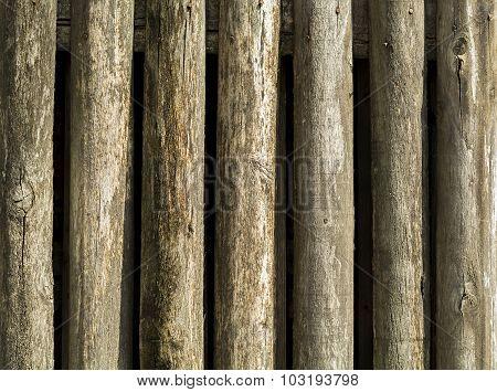 Round wood fence bars