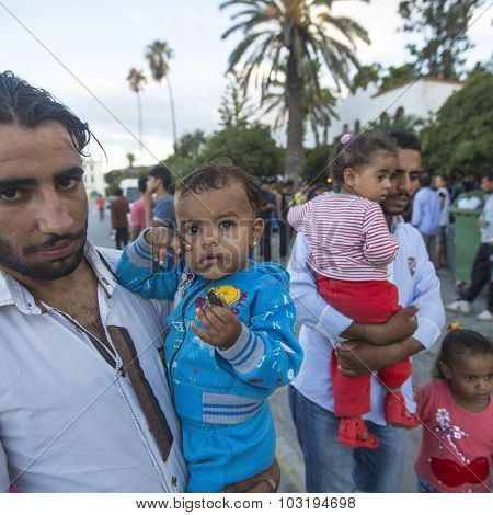 KOS, GREECE - SEP 28, 2015: Unidentified children war refugees. Kos island is located just 4 kilometers from the Turkish coast, and many refugees come from Turkey in an inflatable boats.