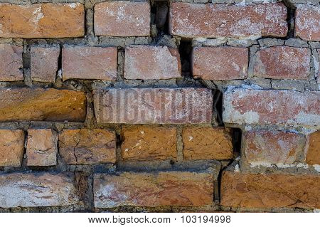 Cracked Red Bricks Texture