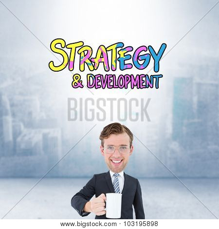 Geeky businessman holding mug against city scene in a room