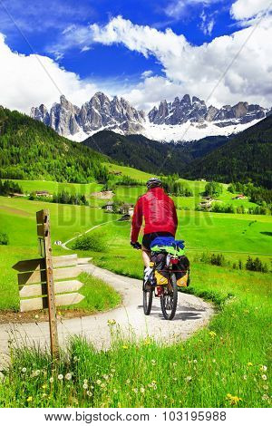 cycling in Dolomites mountains, outdoor sport activiies