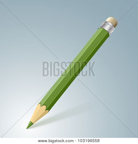 Green Pencil. Vector Illustration