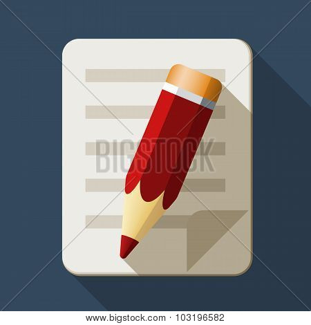 Notebook And Pencil Icon In Flat Style With Long Shadow