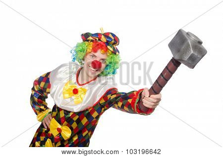 Clown with hammer isolated on white
