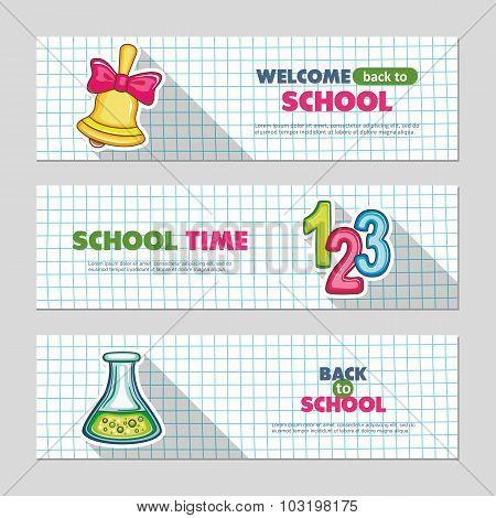 School flat vector banners