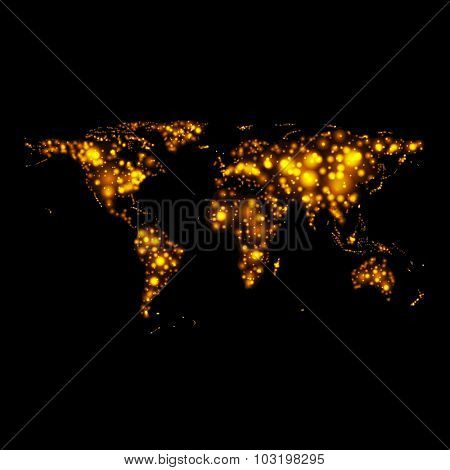 Bright glowing abstract map on night. Vector background