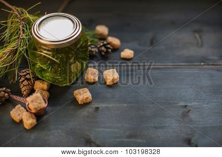 Fir tree bump jam on wooden background