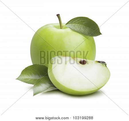 Green Apple Quarter Piece Composition Isolated On White Background