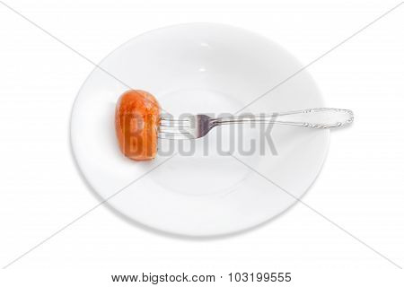 Grilled Sausage Impaled On A Fork On A White Dish